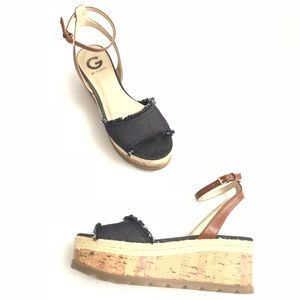 G by Guess Denim Flat Platform Cork Sandals Espadr